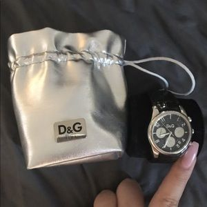 D&G crystal button watch embossed croc strap